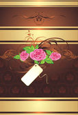 Bouquet of pink roses with ornament on the decorative background — ストックベクタ