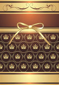 Golden bow on the decorative background — Vector de stock