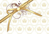 Golden bow with ornament on the decorative background — Vecteur