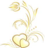 Zlaté srdce s dekorativní větvička — Stock vektor