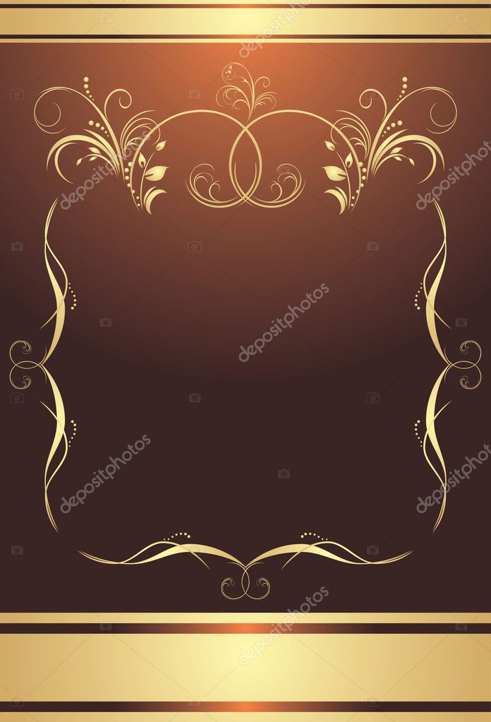 Golden frame on the brown background. Wrapping. Vector illustration  Stock Vector #4918493