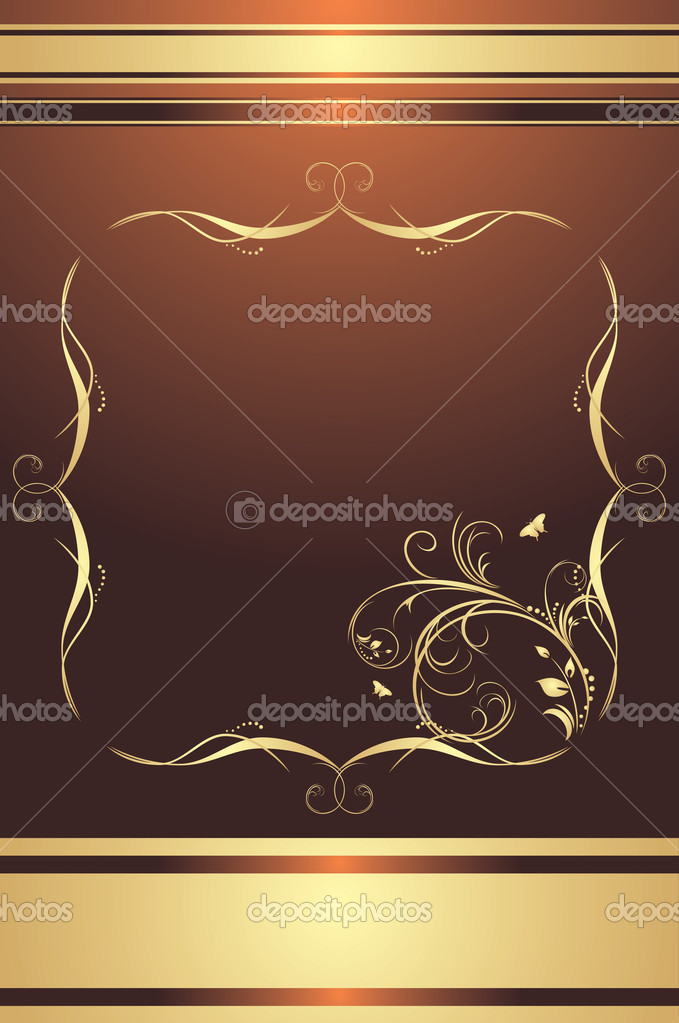 Decorative frame for design on the brown background. Vector illustration — Stock Vector #4918527