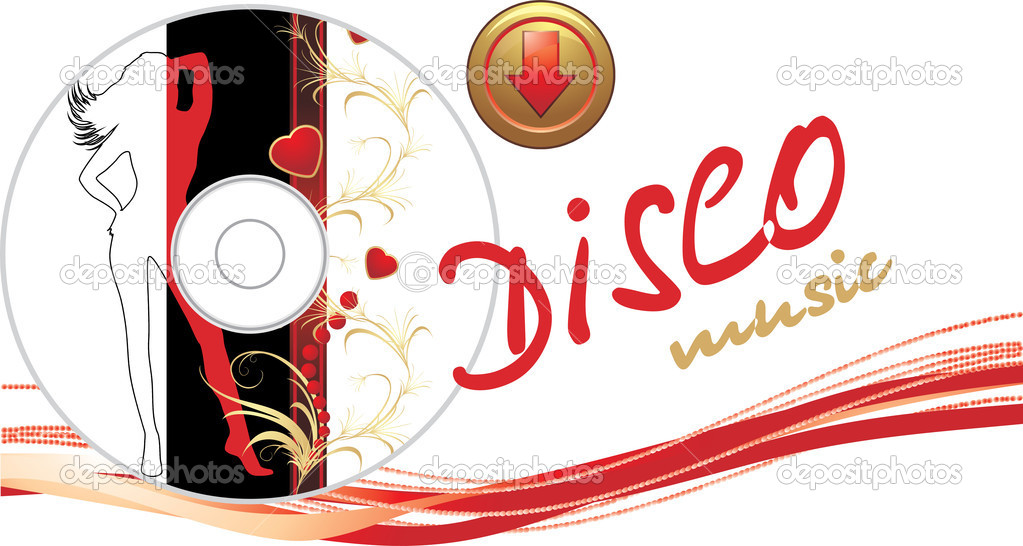 Music disk with button. Romance composition for banner. Vector illustration — ベクター素材ストック #4919016
