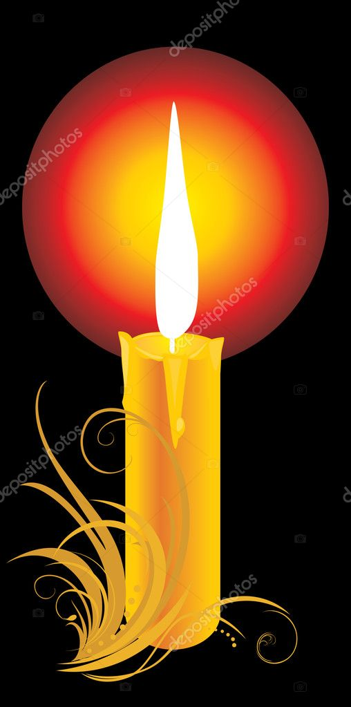 Burning yellow candle with ornament. Vector illustration — Stock Vector #4919227