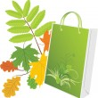 Stock Vector: Package on leafy background