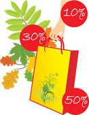 Package in a woman hand on the leafy background. Seasonal discounts — Stock Vector
