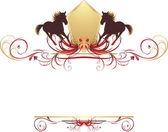 Silhouettes of hurrying horse on the stylish ornament. Element for design — Stock Vector