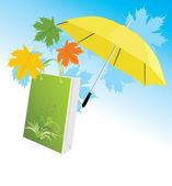 żółty parasol z pakietu i klon liści — Wektor stockowy