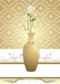 Golden vase with bouquet of flowers on the decorative background — Stock Vector