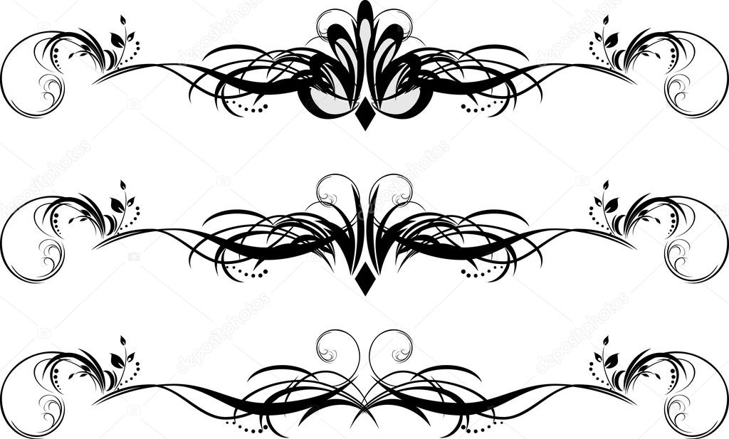 Three floral patterns for design of frames. Vector illustration — Stock Vector #4920513