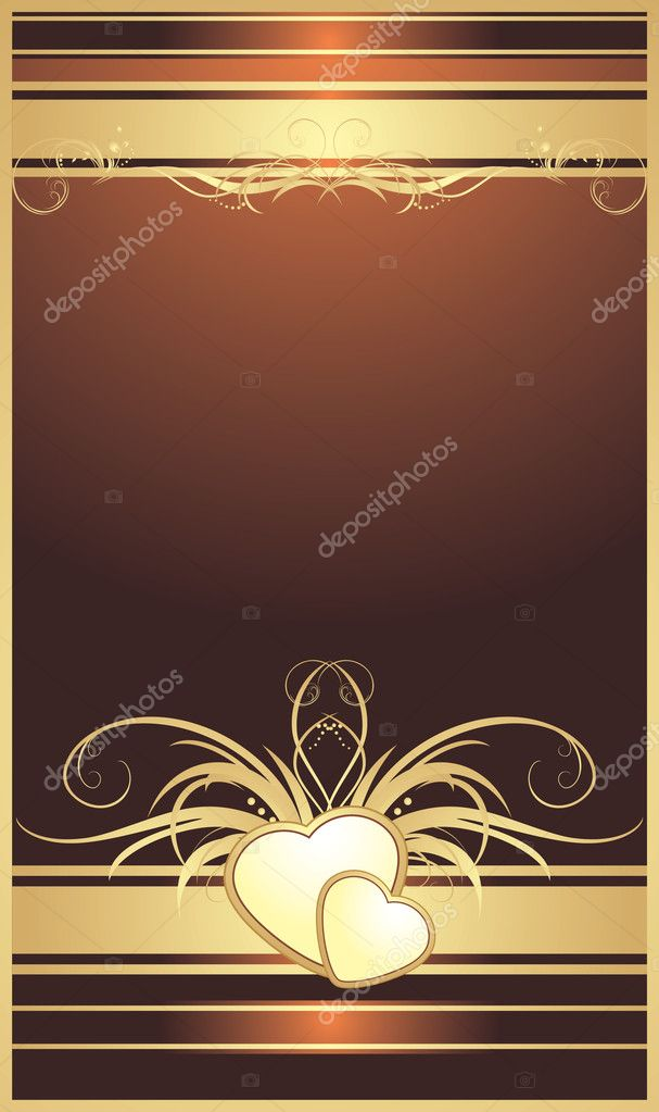 Golden hearts with floral ornament. Background for card. Vector illustration — Stock Vector #4920516