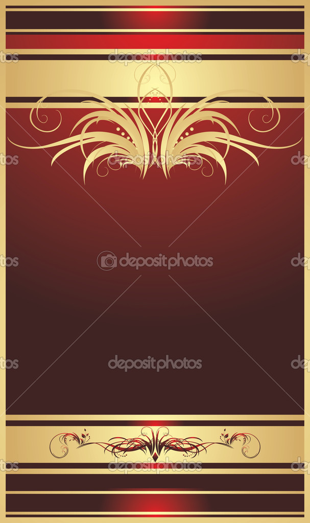 Golden floral ornament. Decorative background for card. Vector illustration — Stock Vector #4920519
