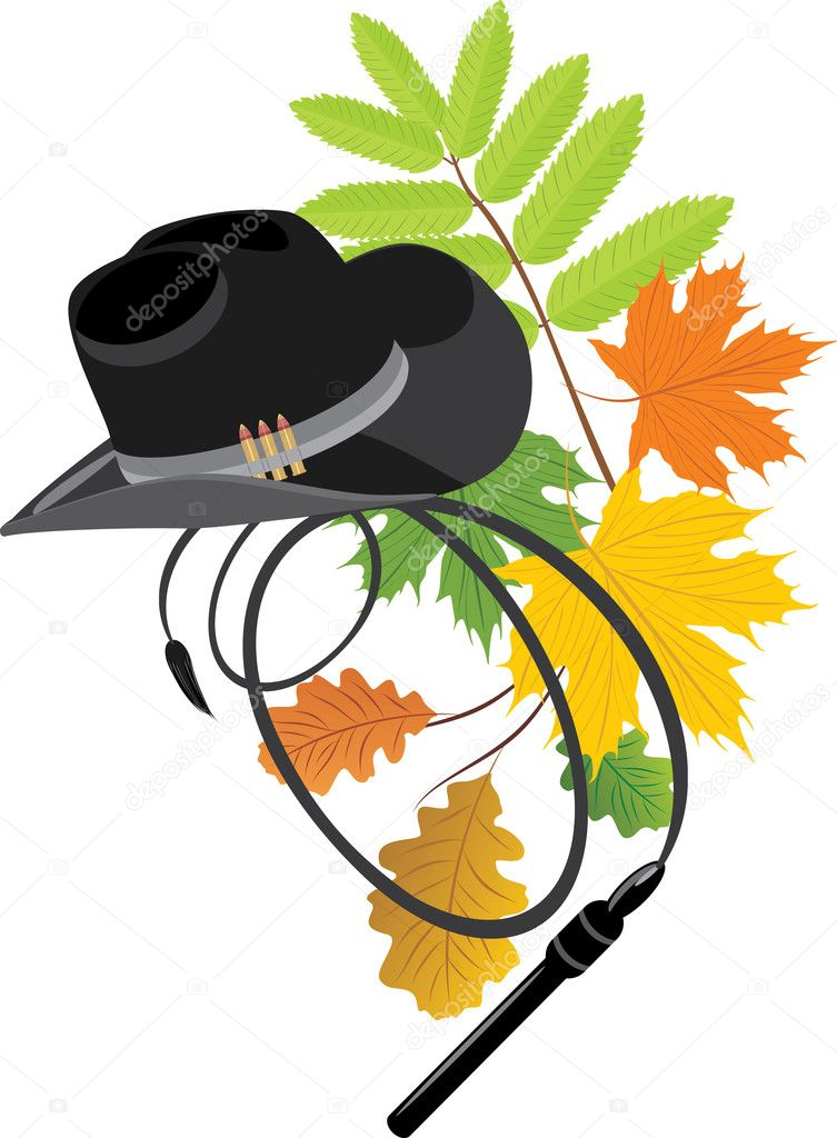 Cowboy hat and whip on the autumn background. Vector illustration — Stock Vector #4920530