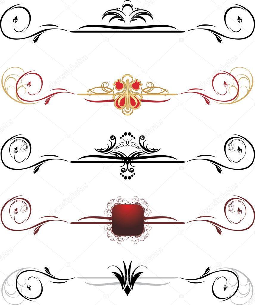Set of decorative borders. Vector illustration — Stock Vector #4921013