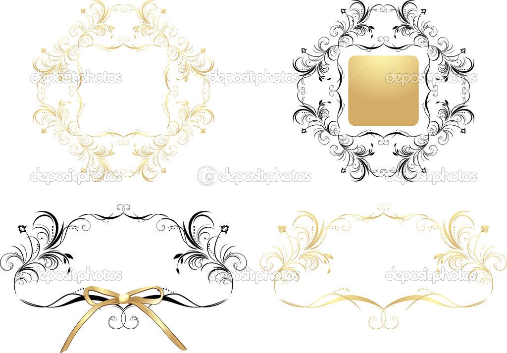 Four patterns for decorative frames. Vector illustration — Stock Vector #4921194