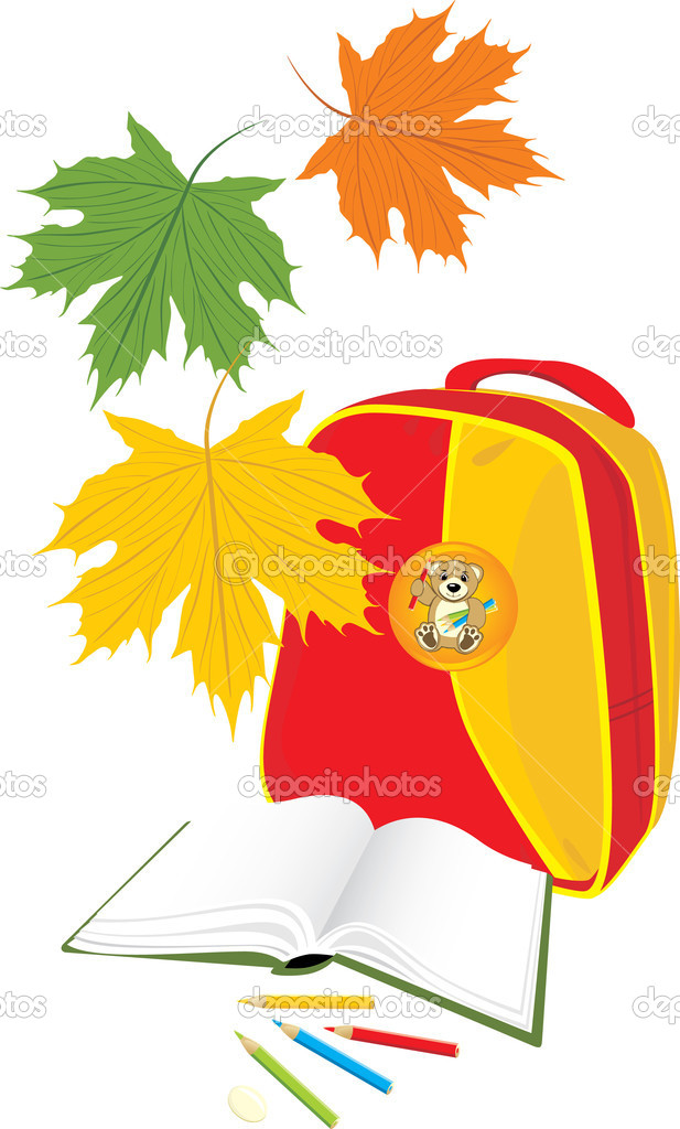 Backpack, book and pencils. School composition. Vector illustration  Stock Vector #4924414
