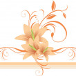 Lilies with floral ornament on the decorative border — Stock Vector #5054310