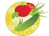 Plato con verduras — Vector de stock