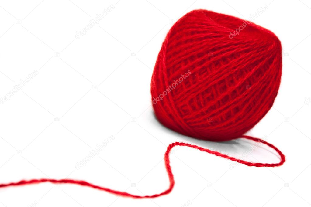Red ball of yarn on white background — Stock Photo #4967936