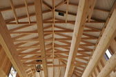Wood house construction — Stock Photo