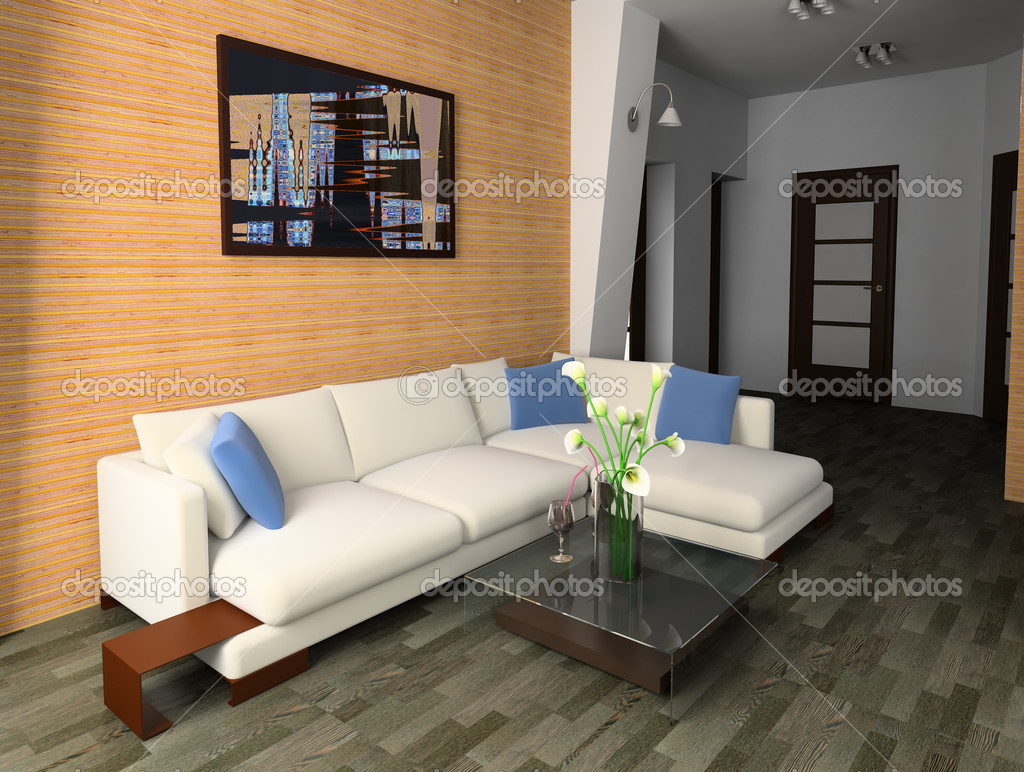White sofa in a drawing room 3d image  Stock Photo #4300545
