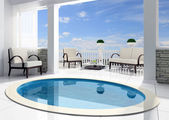 Pool before an open terrace — Stock Photo