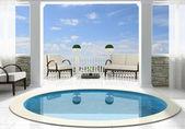 Bazén před otevřenou terasu — Stock fotografie