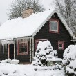 Winter cottage covered by snow — Stok fotoğraf