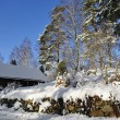 Swedish village architecture in winter - Stock Photo
