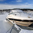 Icy motorboat — Stock Photo