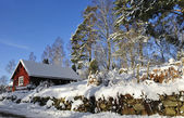 Swedish village architecture in winter — Stock Photo