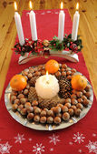 Christmas plate with delicacies — Stock Photo