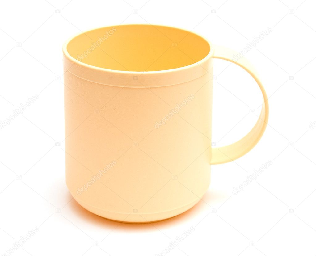 Empty plastic mug with handle isolated on white background  — Stock Photo #4763925