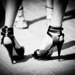 Women shoes in black and white colour — Stock Photo