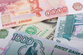 Russian Thousand Rubles and Dollar Banknotes — Stock Photo