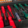 Stock Photo: Set of screwdrivers in black box