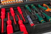 Set of screwdrivers in black box — Stock Photo