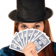 Beauty Girl in Hat with Cards — Stock Photo