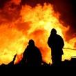 Firemen in Silhouette — Stock Photo