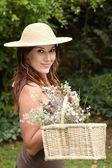 Pretty Gardening Lady — Stock Photo
