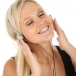 Blonde Beauty Listening to Music — Stock Photo