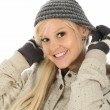 Blond Beauty in Winter Dress — Stock Photo