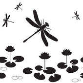 Dragonfly seamless — Stock Vector