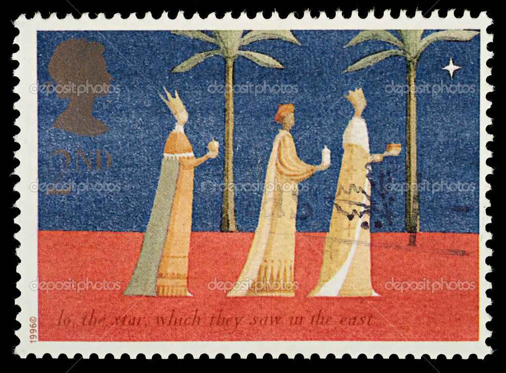 British Used Christmas Postage Stamp showing The Three Kings, circa 1996  Stockfoto #4124690
