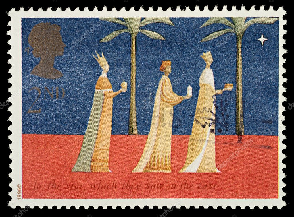 British Used Christmas Postage Stamp showing The Three Kings, circa 1996 — Lizenzfreies Foto #4124690