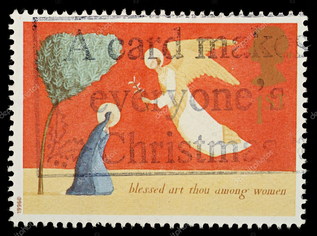 British Used Christmas Postage Stamp showing The Annunciation, circa 1996  Stock Photo #4124698