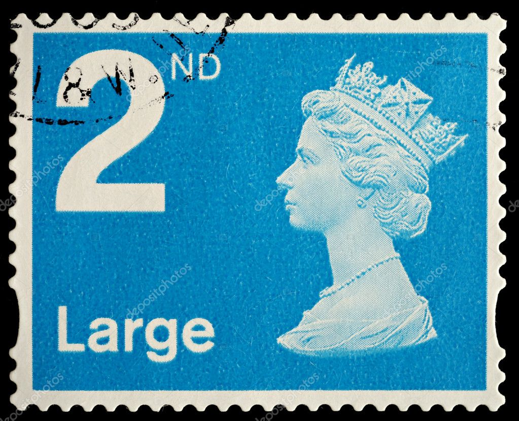 UNITED KINGDOM - CIRCA 2006: An English Used Second Class Large Letter Postage Stamp showing Portrait of Queen Elizabeth 2nd, circa 2006  — Lizenzfreies Foto #4308200