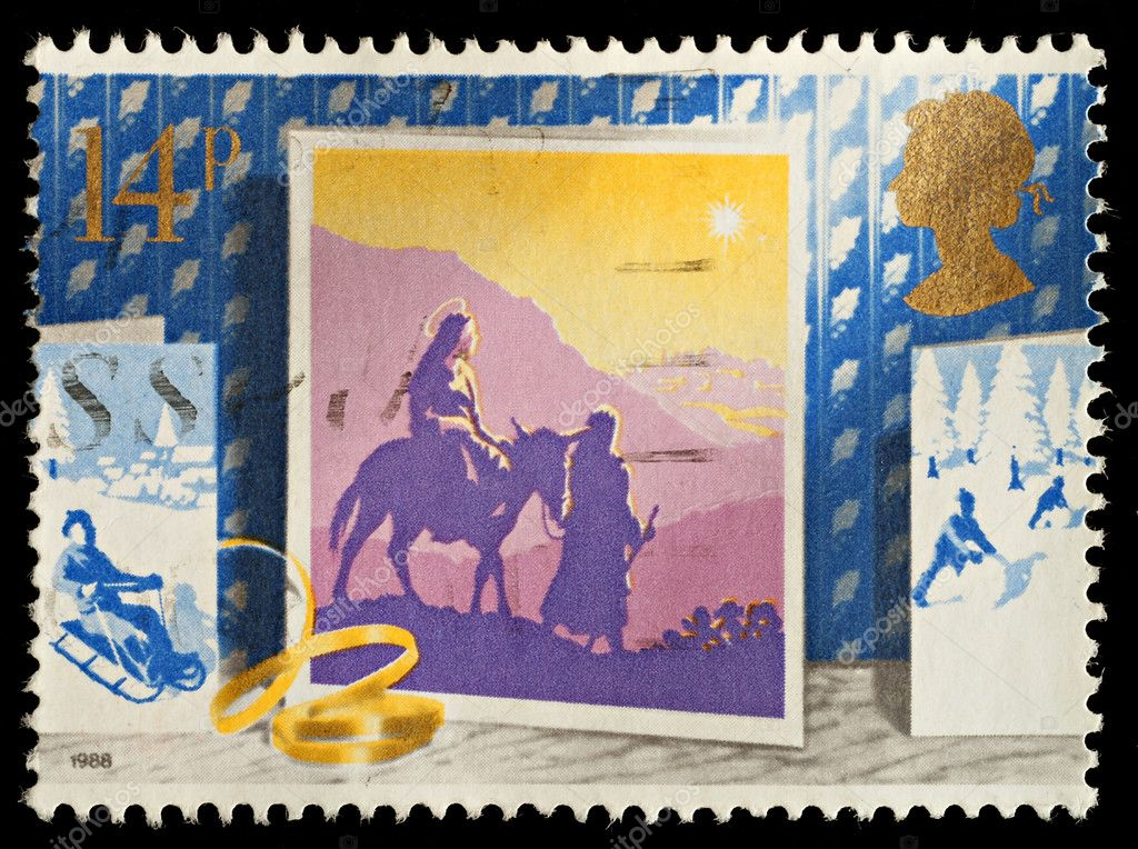 British Used Christmas Postage Stamp showing the Journey to Bethlehem, circa 1988 — Stock Photo #4319447