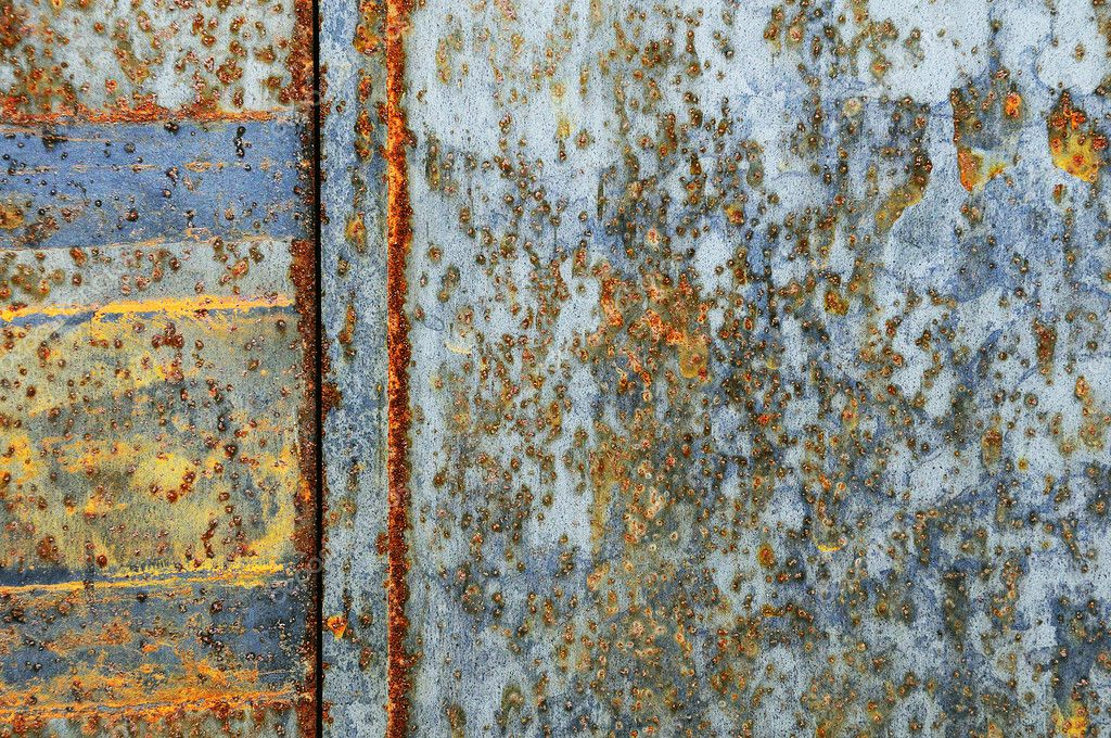Rusty sheet of metal, partly still shining. — Stock Photo #4289758