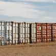 Shipping Export Freight Containers - Stock Photo